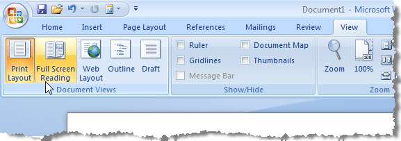 Full Screen Reading option in Word 2007